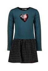 Bampidano Bampidano Junior Girls multi sweat dress Chrisje plain top with flip sequins heart + checked skirt MON CHERI, petrol