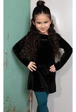 Bampidano Bampidano Junior Girls velvet dress Claartje with rib collar MON CHERI, anthra