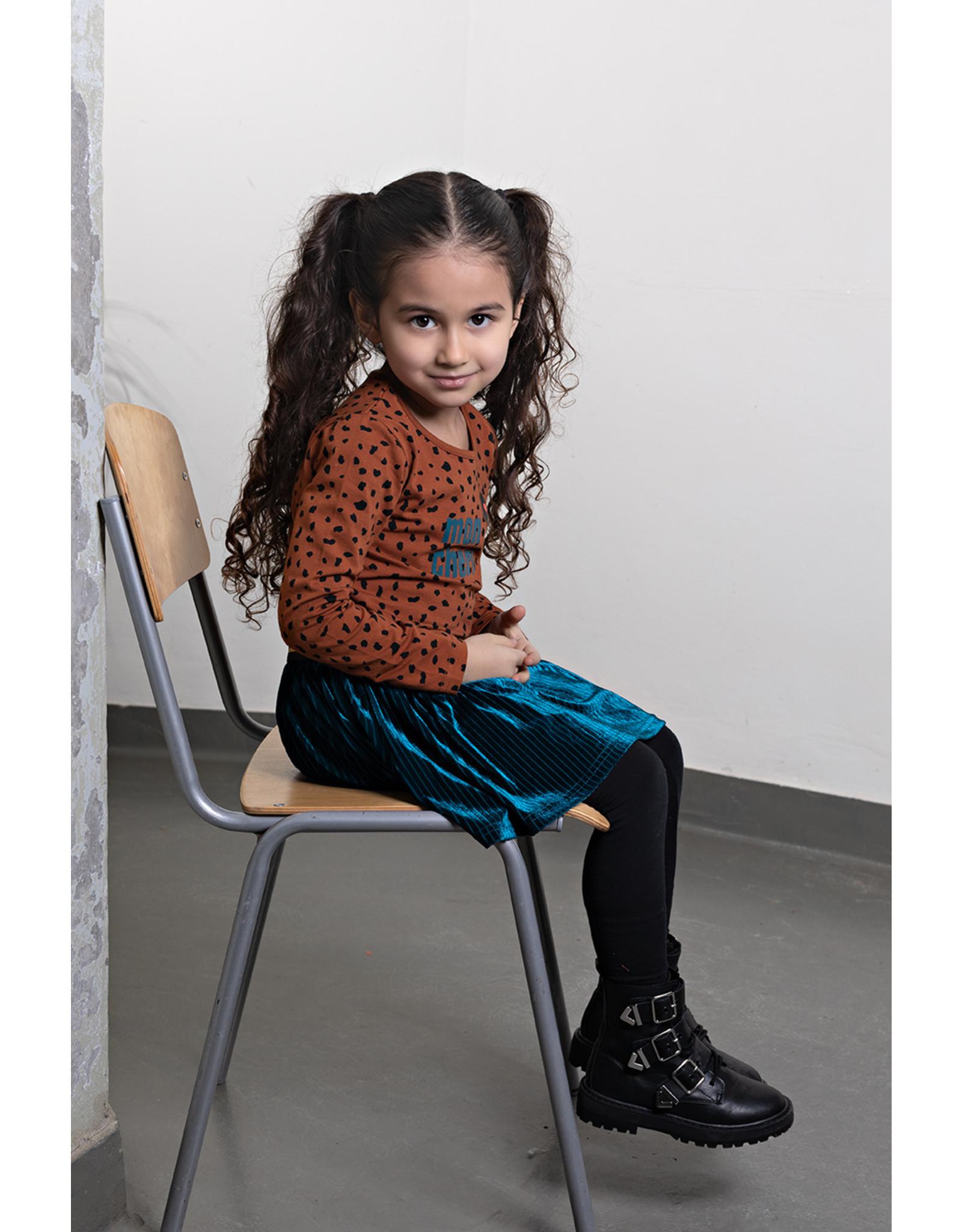 Bampidano Bampidano Junior Girls velvet stripe skirt Cira with rib waist MON CHERI, petrol
