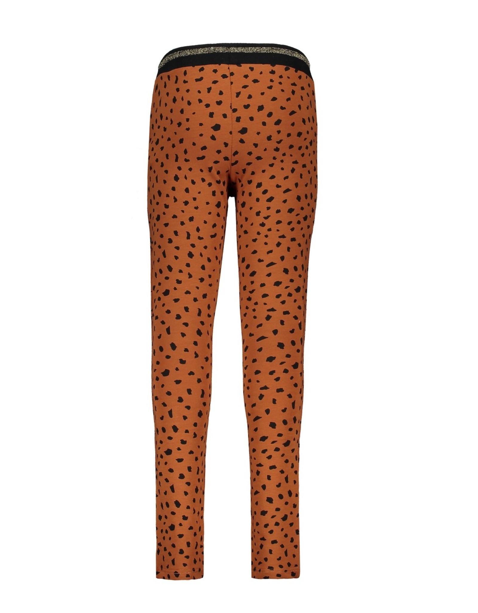 Bampidano Bampidano Junior Girls sweat trousers Caprice check/allover print with striped tape + rib waist MON CHERI, mocha aop