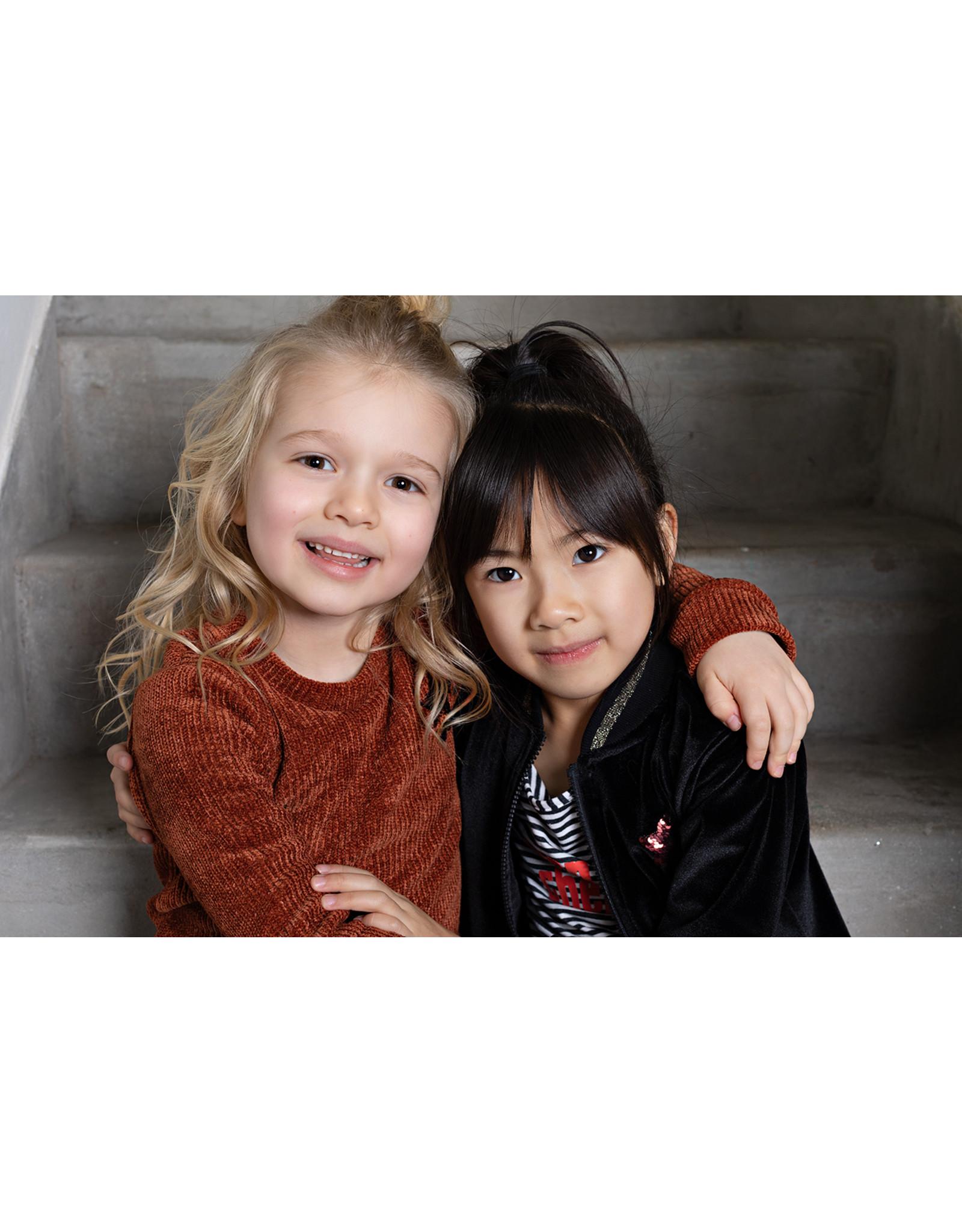 Bampidano Bampidano Junior Girls longsleeve Charmaine allover print/yd stripe MON CHERI, mocha aop