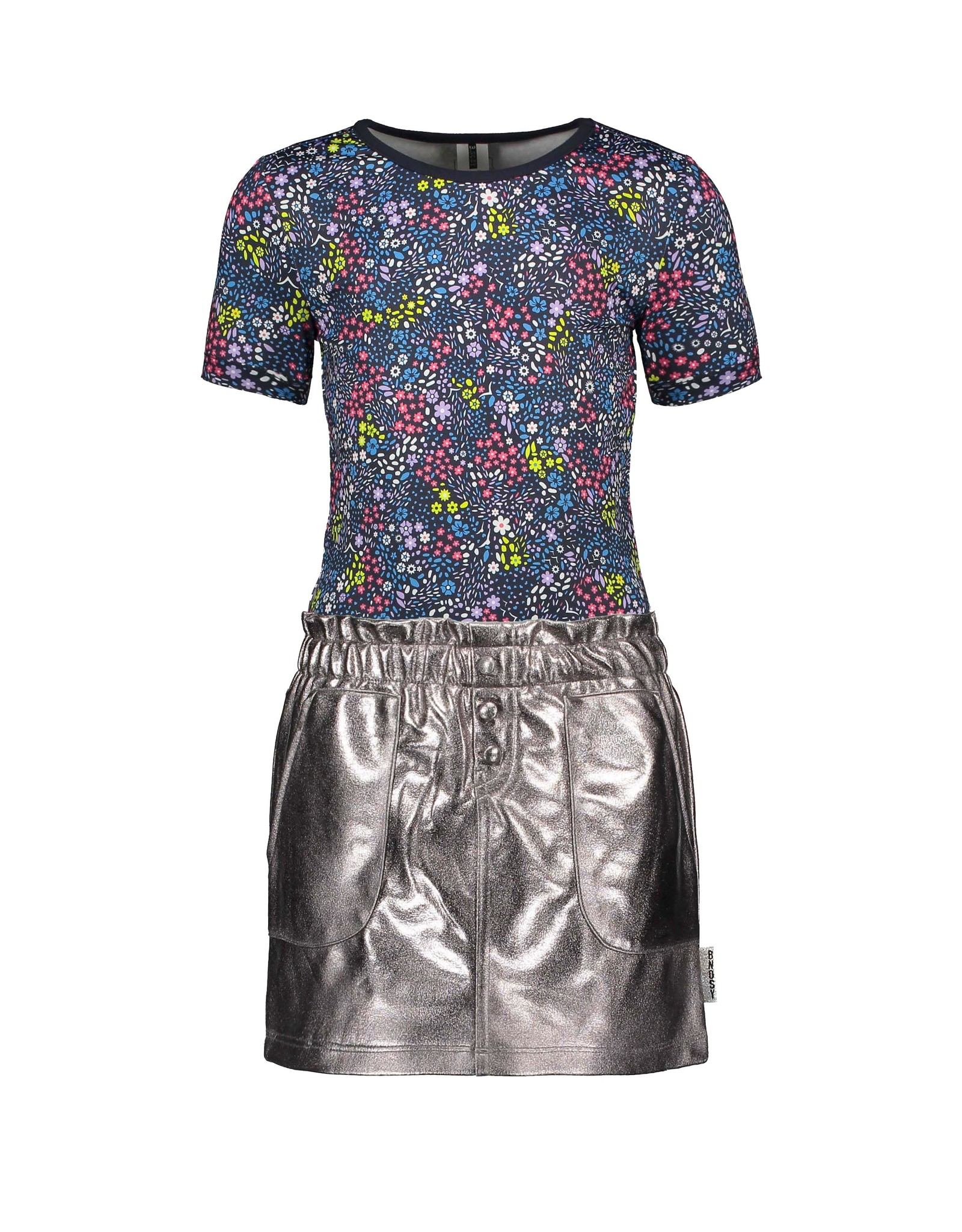 B-Nosy Girls dress with fake leather skirt, Pewter
