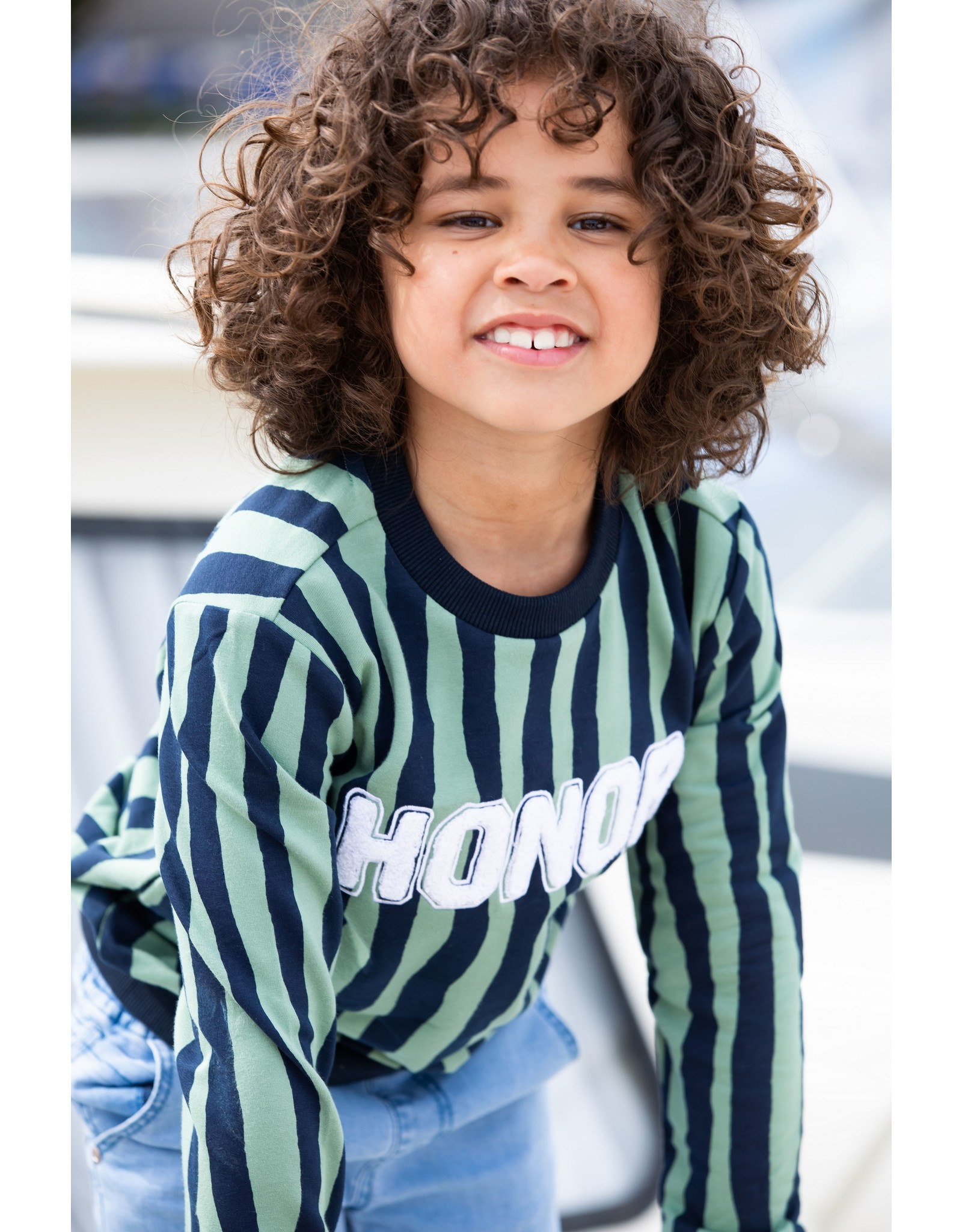 B-Nosy Boys sweater with zebra stripe, Hunter Zebra