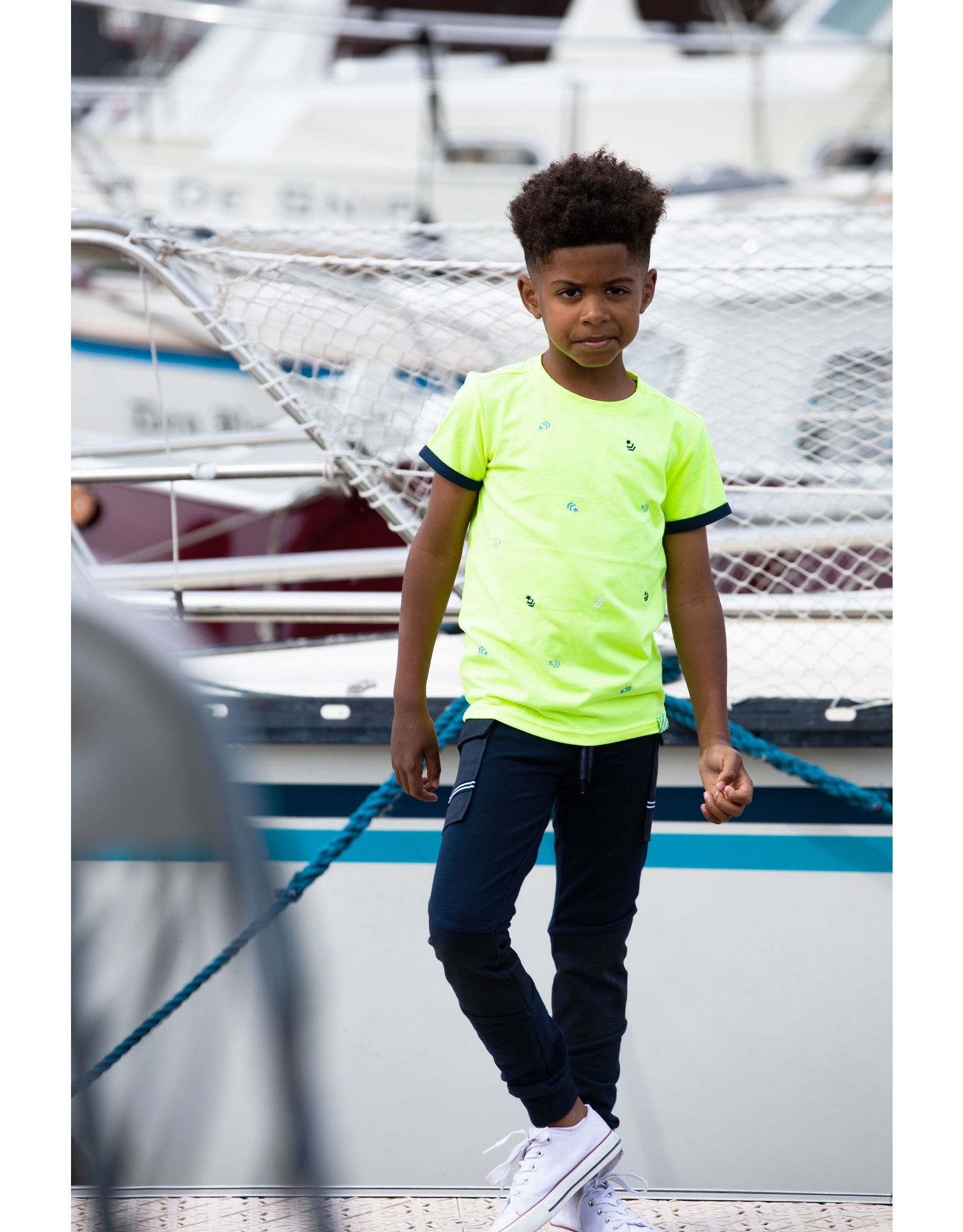 B-Nosy Boys ss shirt with contrast overlap, panel embroidery chest, Safety yellow