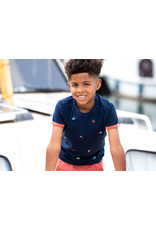 B-Nosy Boys ss shirt with contrast overlap, panel embroidery chest, Oxford blue