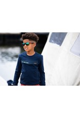B-Nosy Boys sweater with fake pocket, side pockets, embroidery chest, Oxford blue