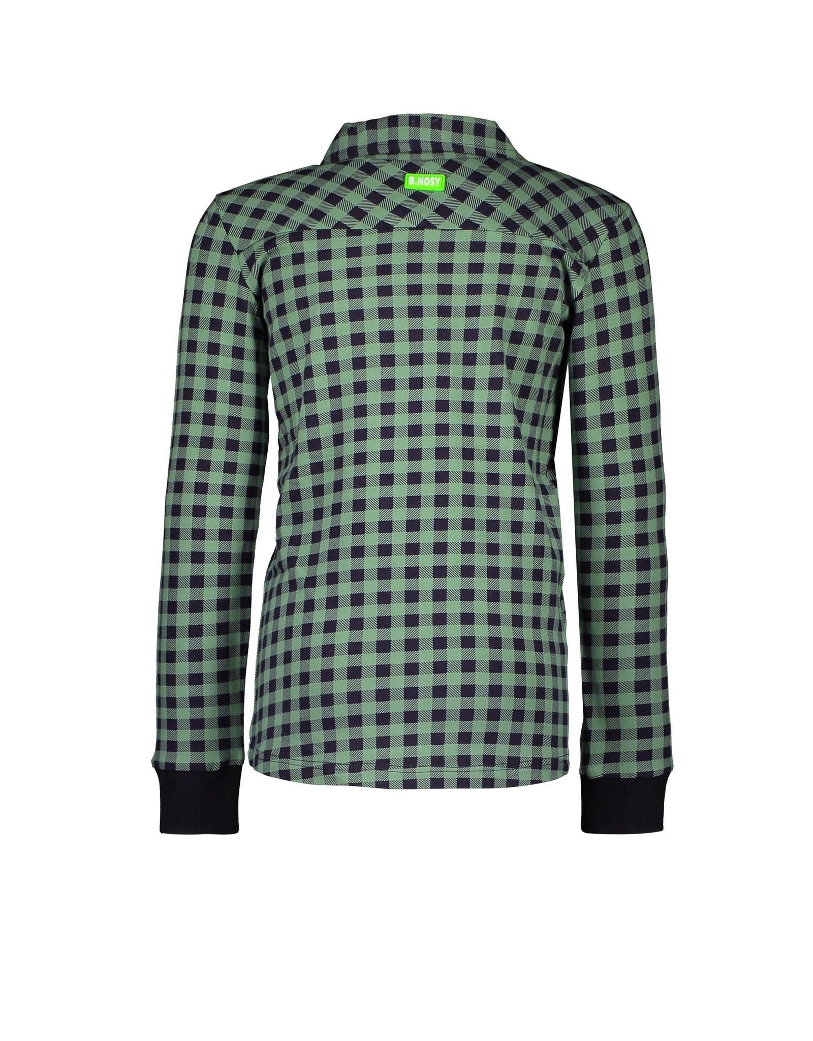 B-Nosy Boys jersey blouse with zipper, rib at cuffs, Hunter check