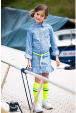 B-Nosy Girls basic socks with contrast stripes, Safety yellow