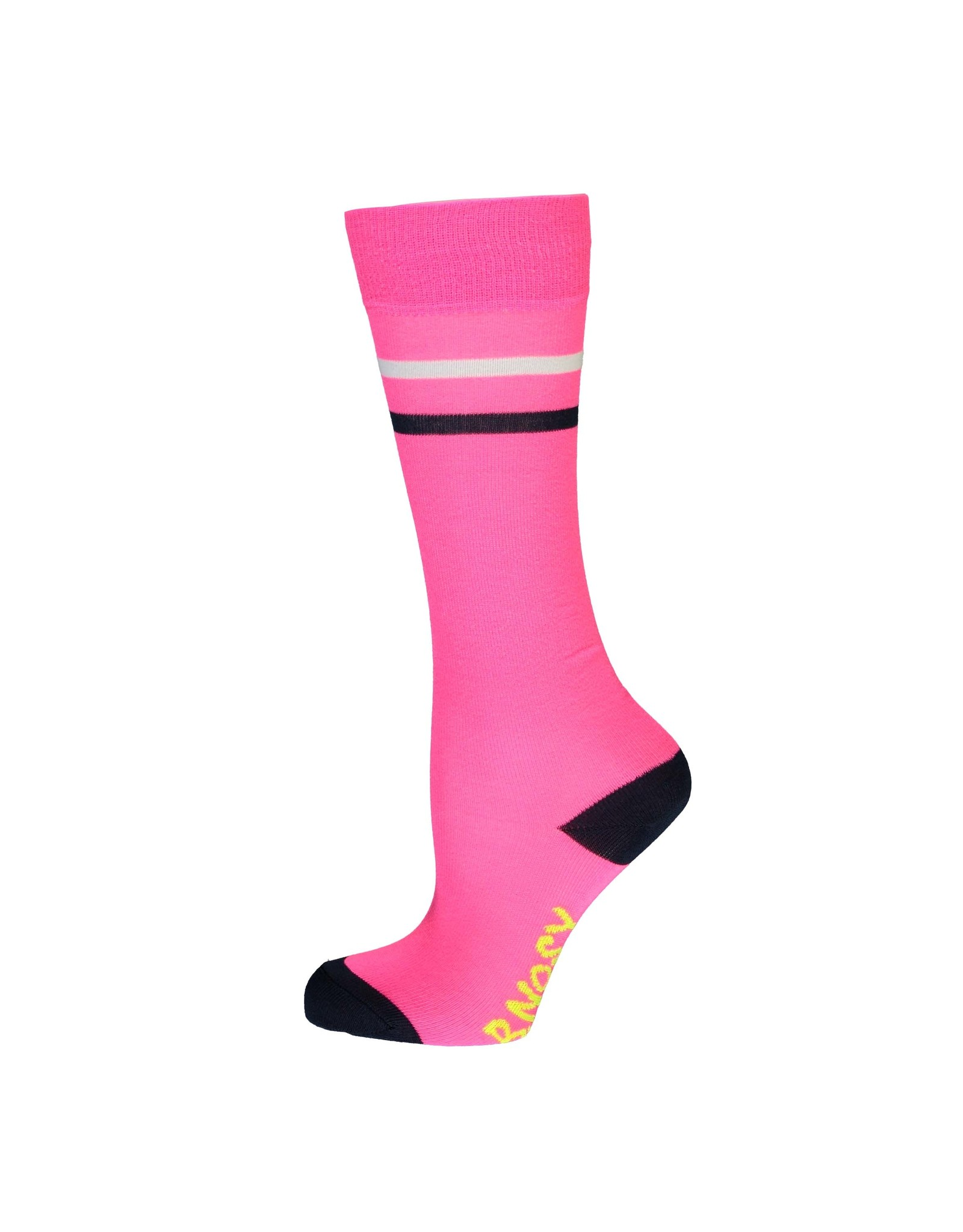 B-Nosy Girls basic socks with contrast stripes, Knock out pink