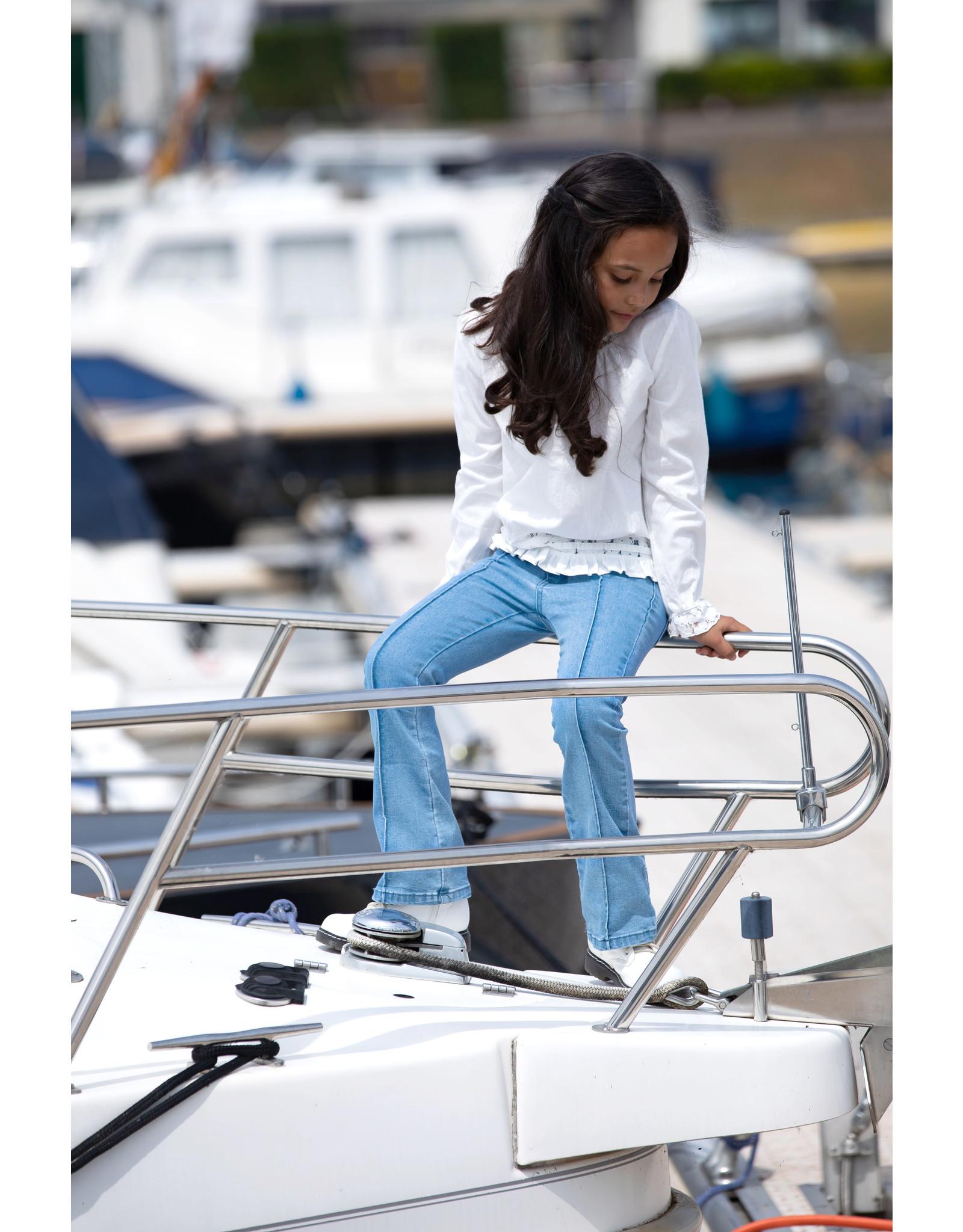 B-Nosy Girls denim flair pants, ruffles at front pockets, Free denim