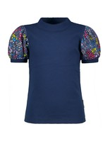 B-Nosy Girls ss shirt with rib body + polyester fabric puff sleeves , space blue