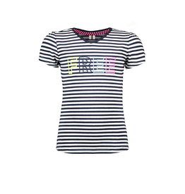 B-Nosy Girls long sleeve shirt with puff shoulders, embroidery CF at neck, Pewter spring stripe