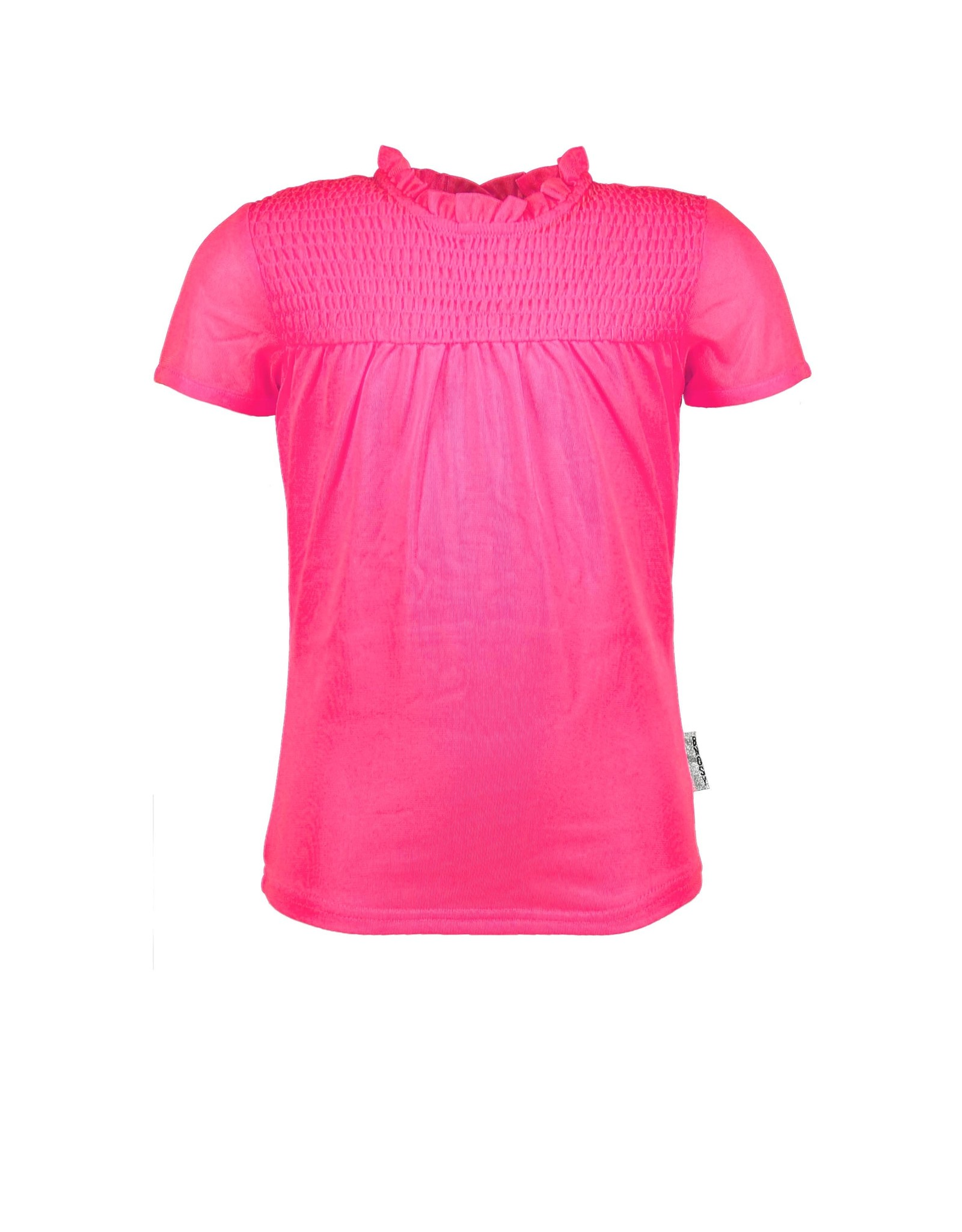 B-Nosy Girls ss polyester top with smock part / front lining, Knock out pink