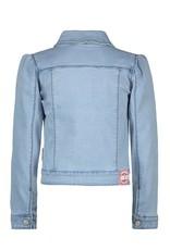 B-Nosy Girls denim jacket with puff shoulder / ruffle with eyelets on CF, Free denim