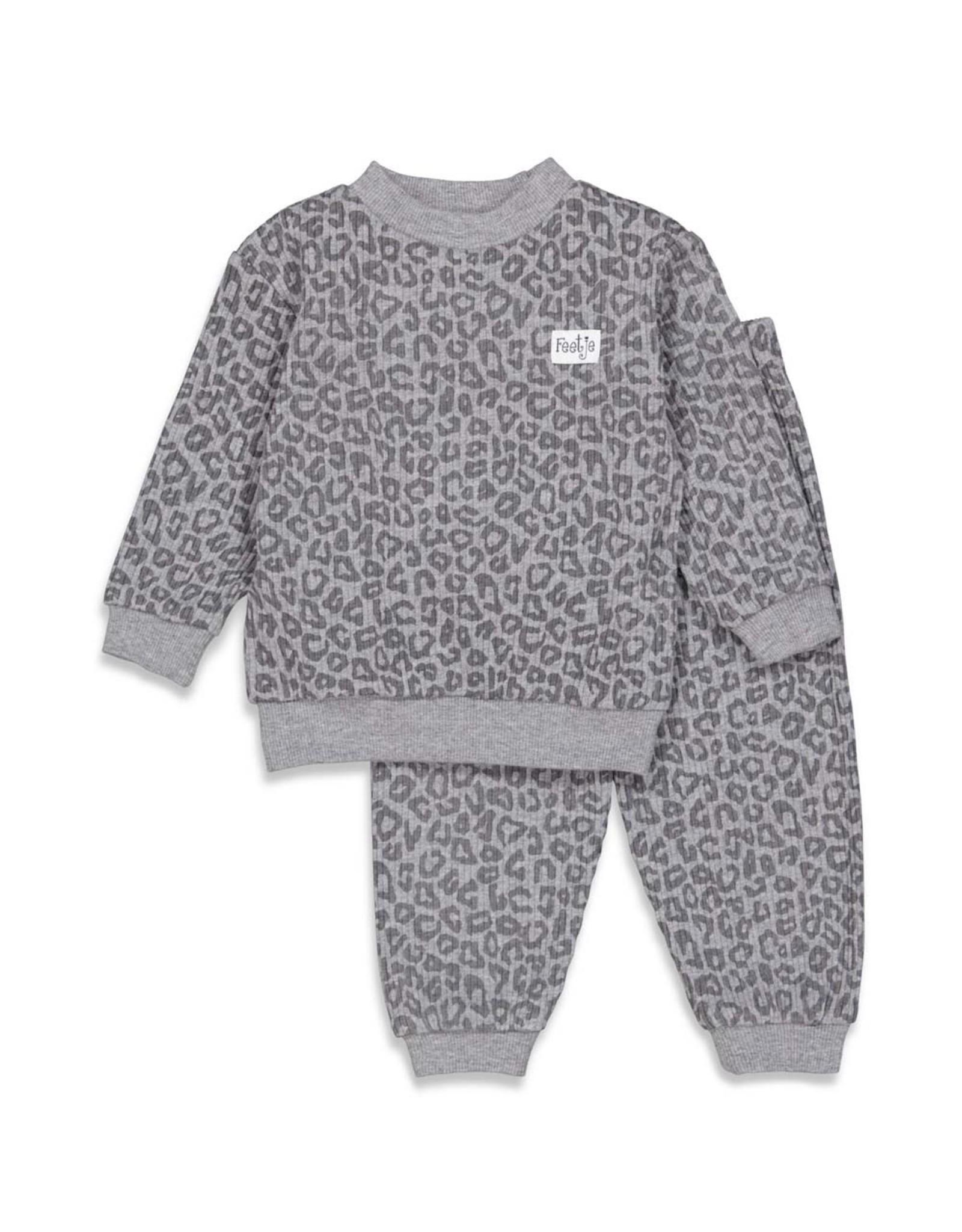 Feetje Pyjama wafel,  Antraciet Fashion Edition