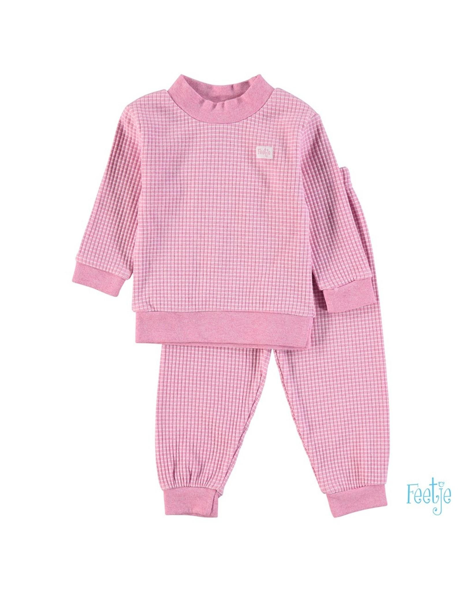 Feetje Pyjama wafel,  Roze melange