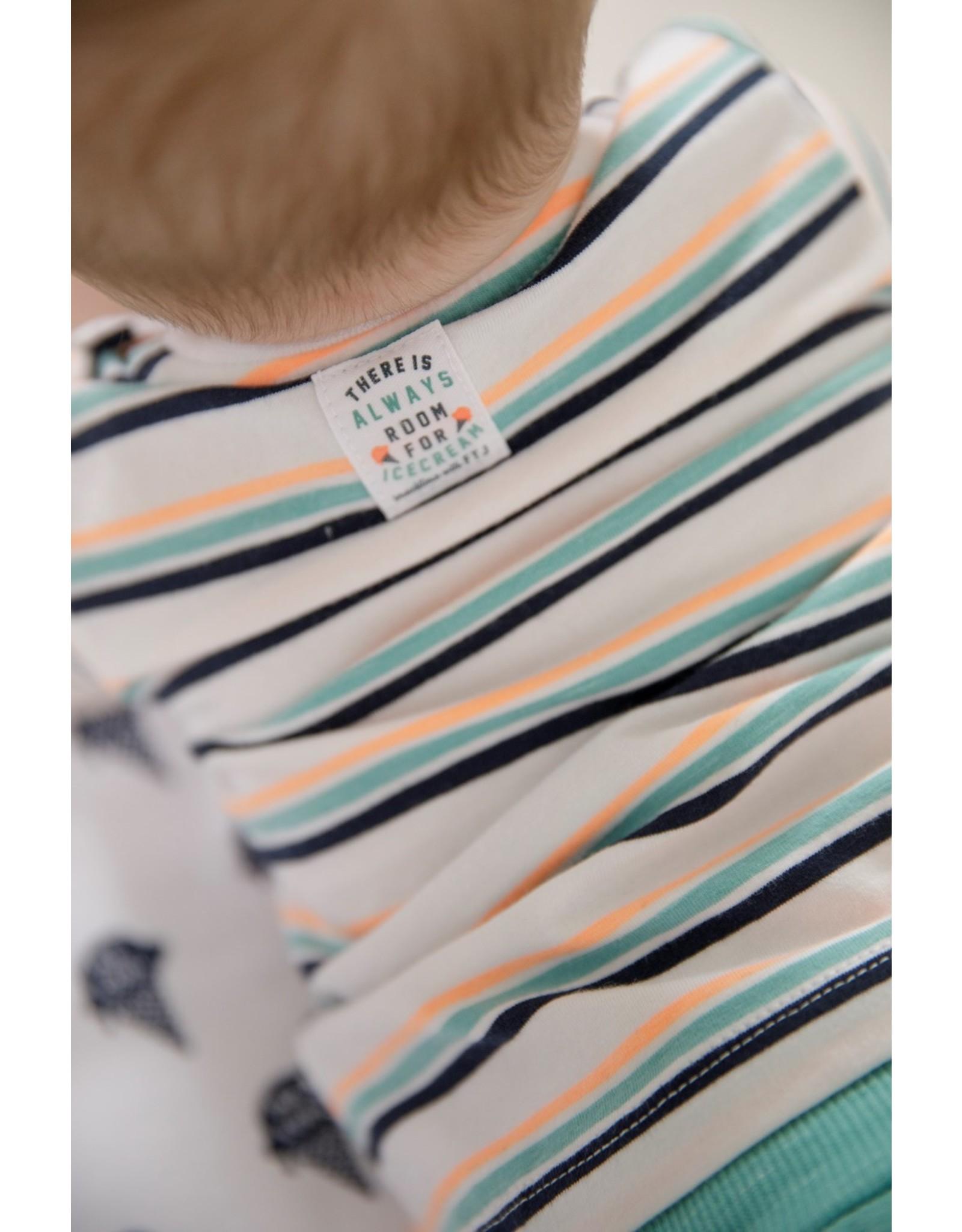 Feetje T-shirt streep - Team Icecream. Wit