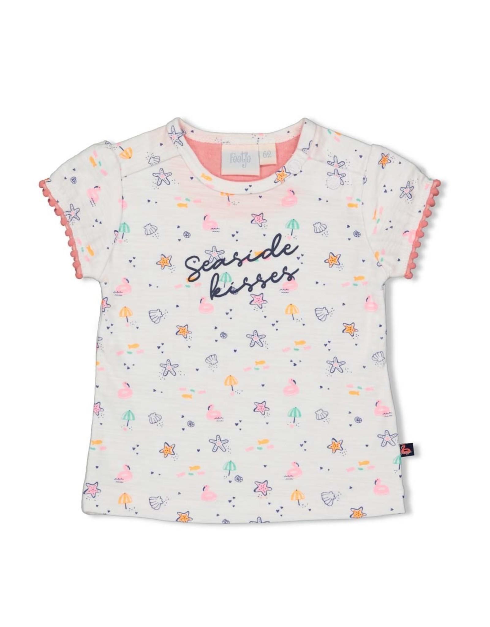 Feetje T-shirt AOP - Seaside Kisses. Wit