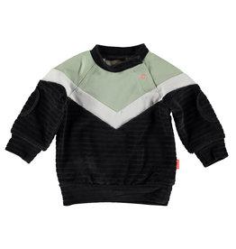 B.E.S.S. Sweater Velvet Colorblock, Anthracite
