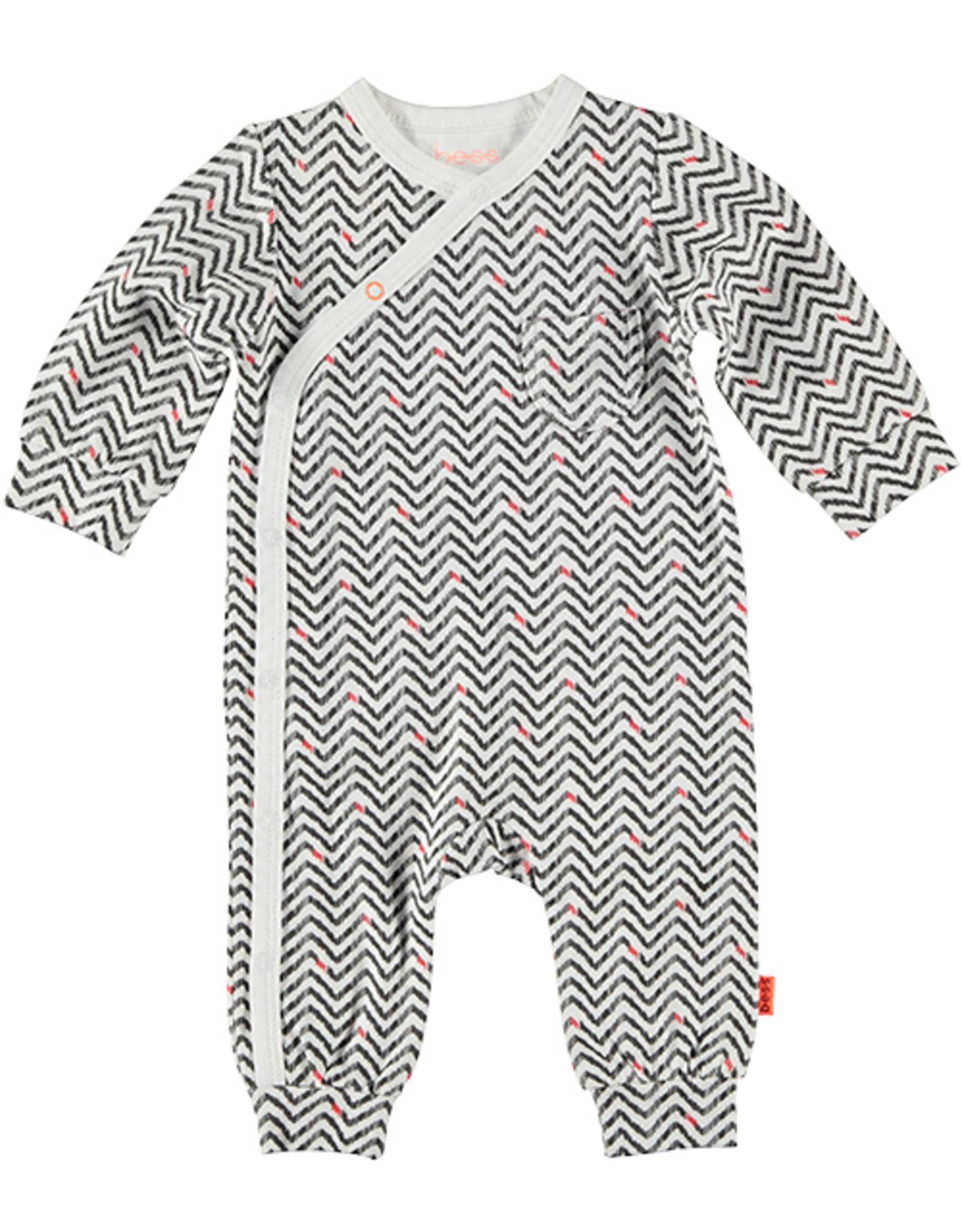 B.E.S.S. Suit AOP Zigzag, White