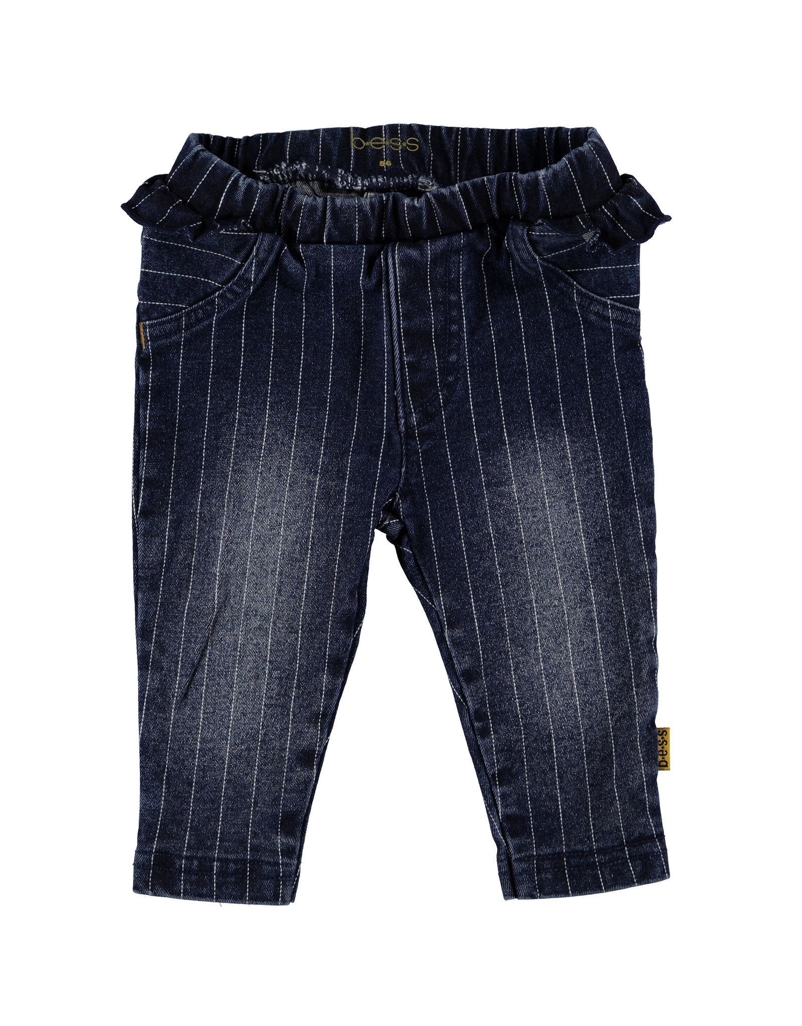B.E.S.S. Pants Denim Striped Ruffle, Stone Wash