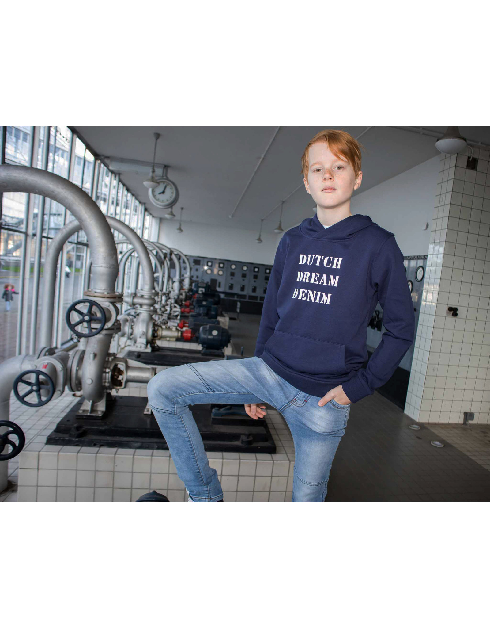 Dutch dream denim REDIO, Hoodie met een logo print navy