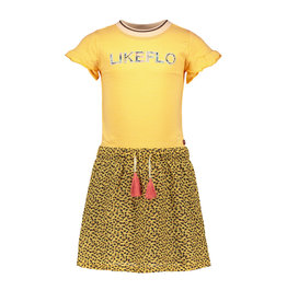 Like Flo Flo girls jersey dress with panter skirt, Honey