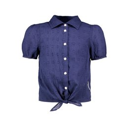 B-Nosy Girls dotted chambray blouse with knot, space blue