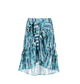 B-Nosy Girls tropical palm woven maxi skirt with ruffle detail, Tropical palm ao