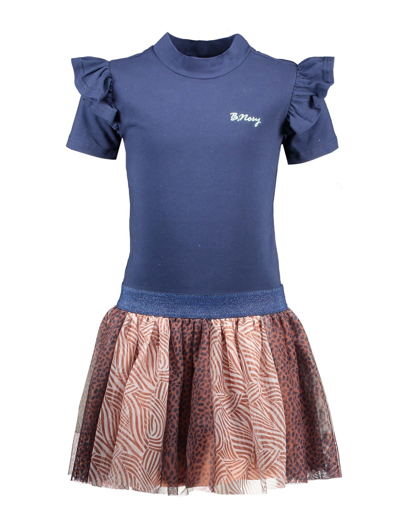 B-Nosy Girls dress with aop mesh skirt, space blue