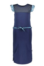 B-Nosy Girls sweat dress with sporty mesh c&s and belt, space blue
