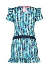 B-Nosy Girls tropical palm ao dress with ruffle, Tropical palm ao