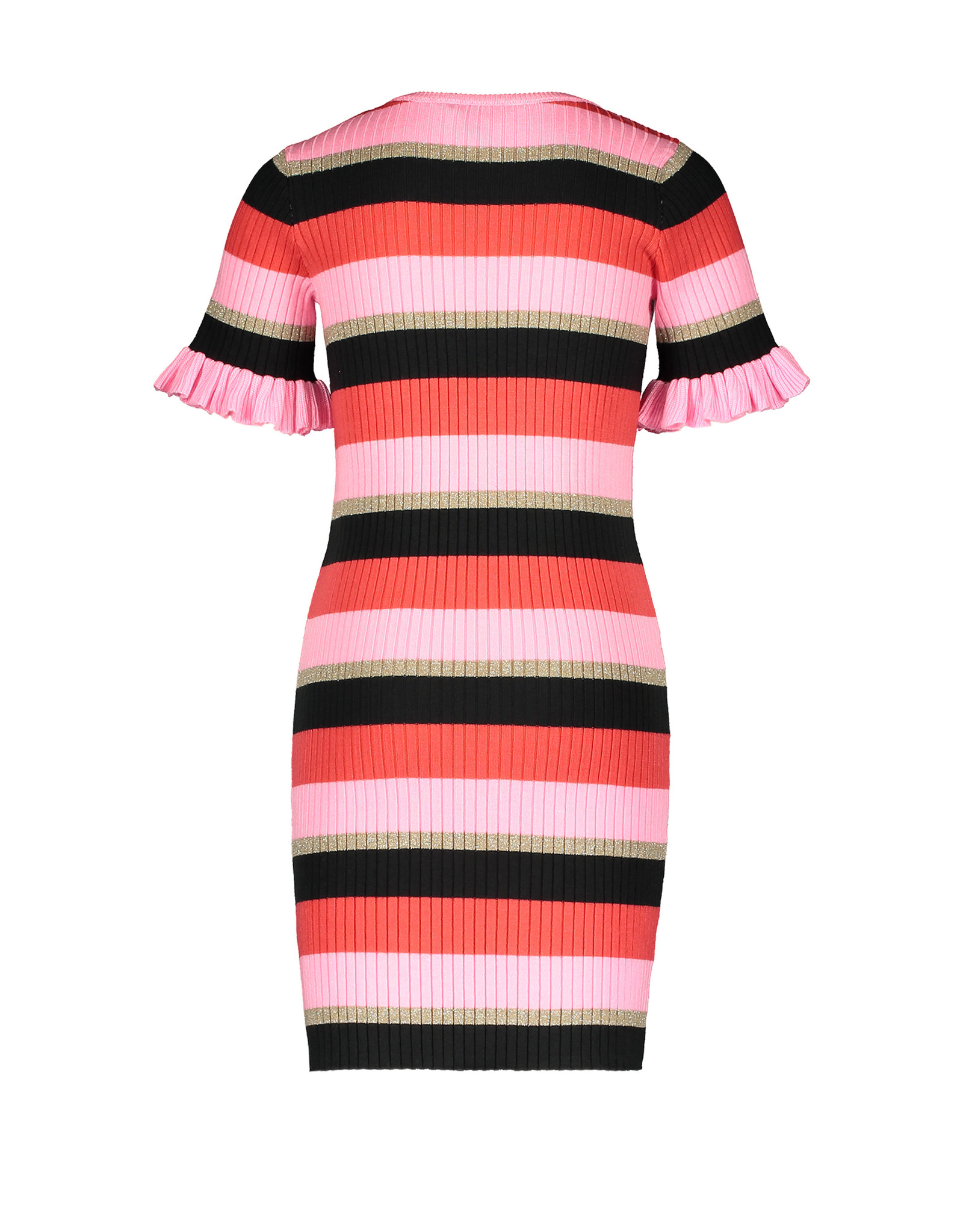 Moodstreet MT knitted striped dress, Red