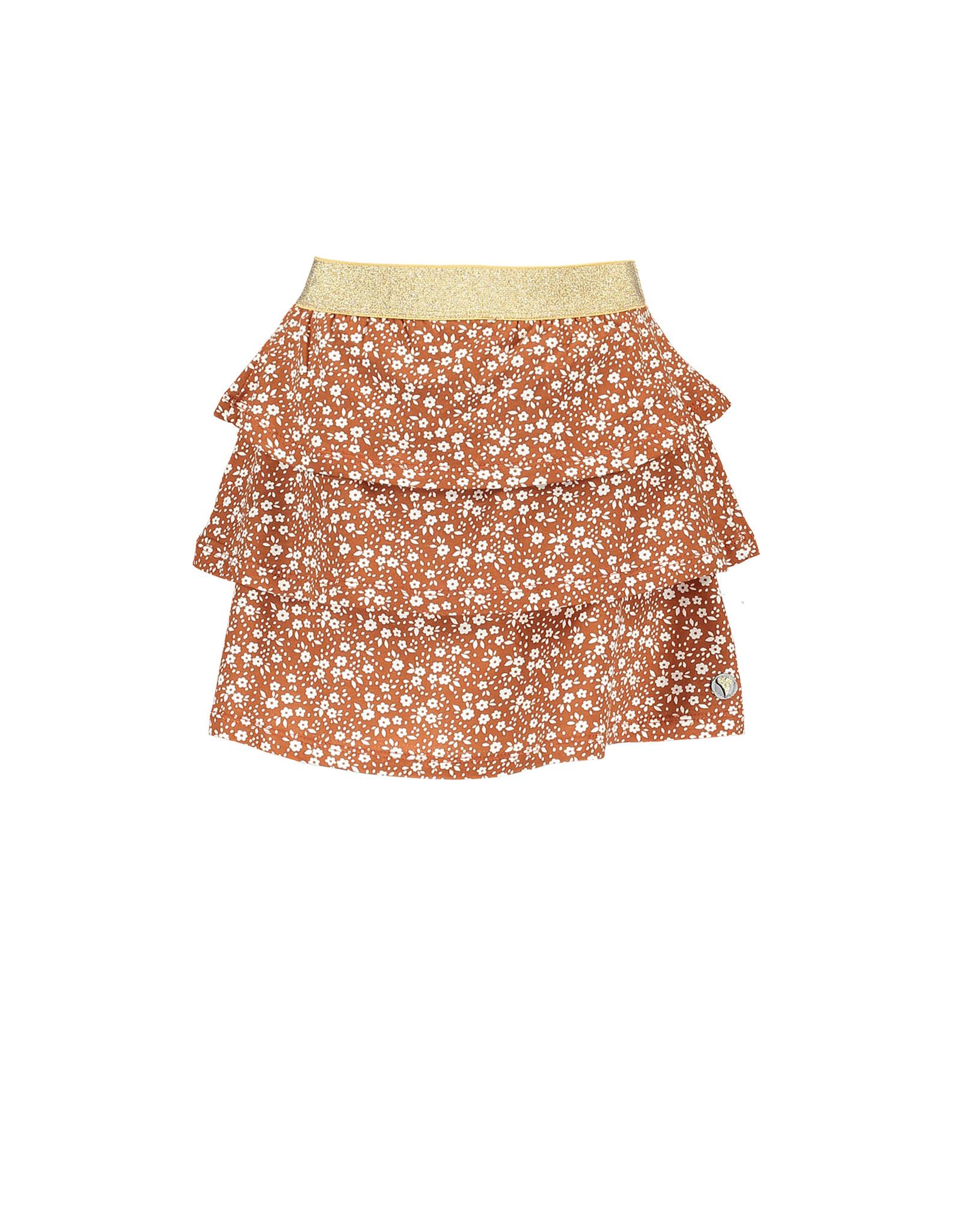 Moodstreet MT skirt with frills AO min flower, Toffee