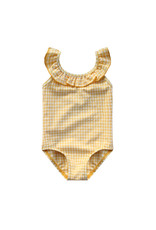 Your Wishes Gold Checks | Ruffle Swimsuit