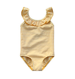 Your Wishes Gold Checks   Ruffle Swimsuit