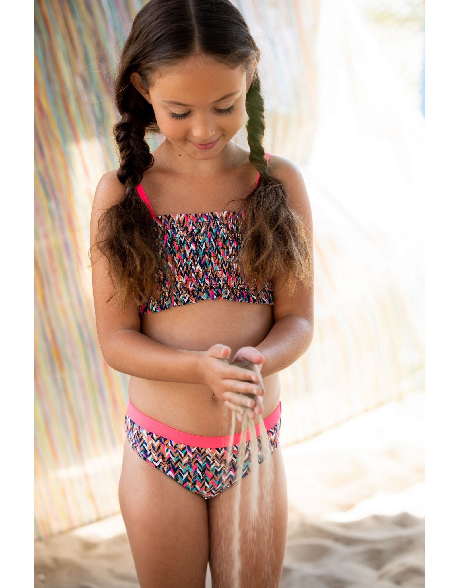 B-Nosy Girls curious ao bikini with smocked top, Curious ao