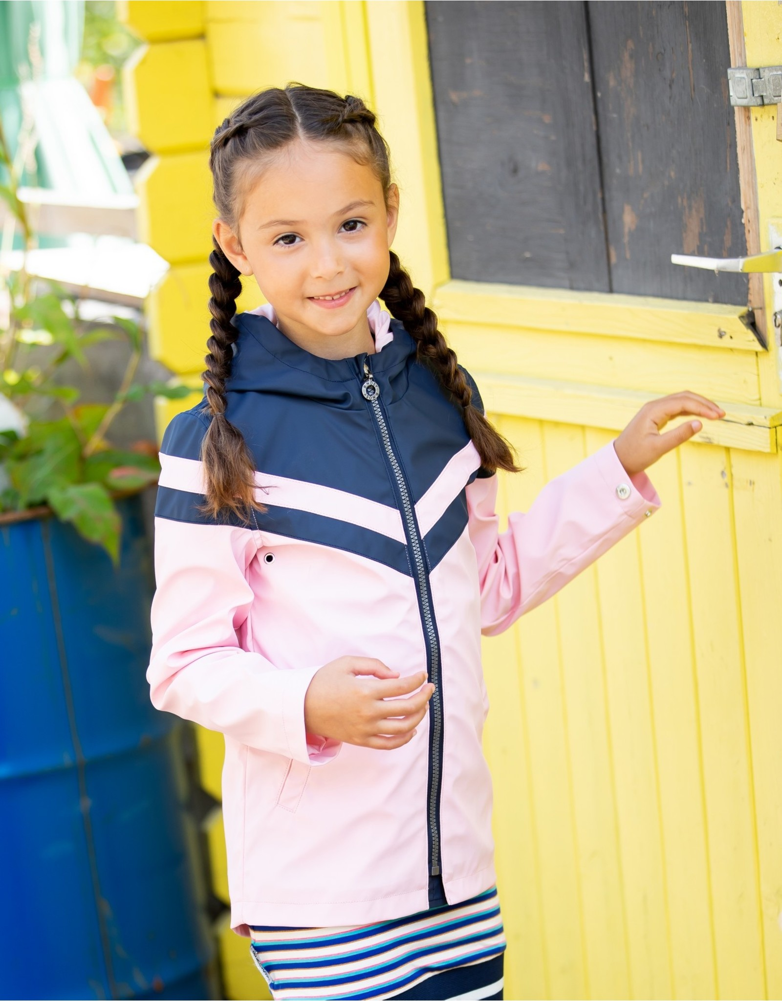 B-Nosy Girls parka with contrast parts, Rose