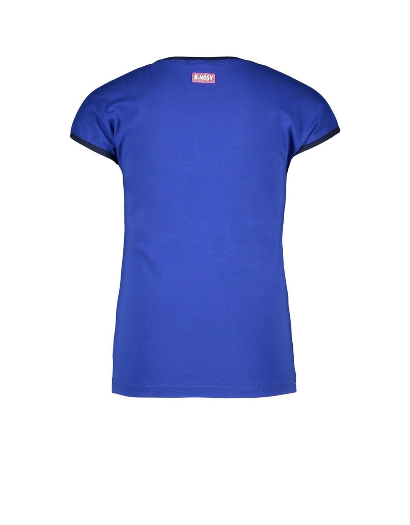 B-Nosy Girls t-shirt with fancy chest artwork, Cobalt blue