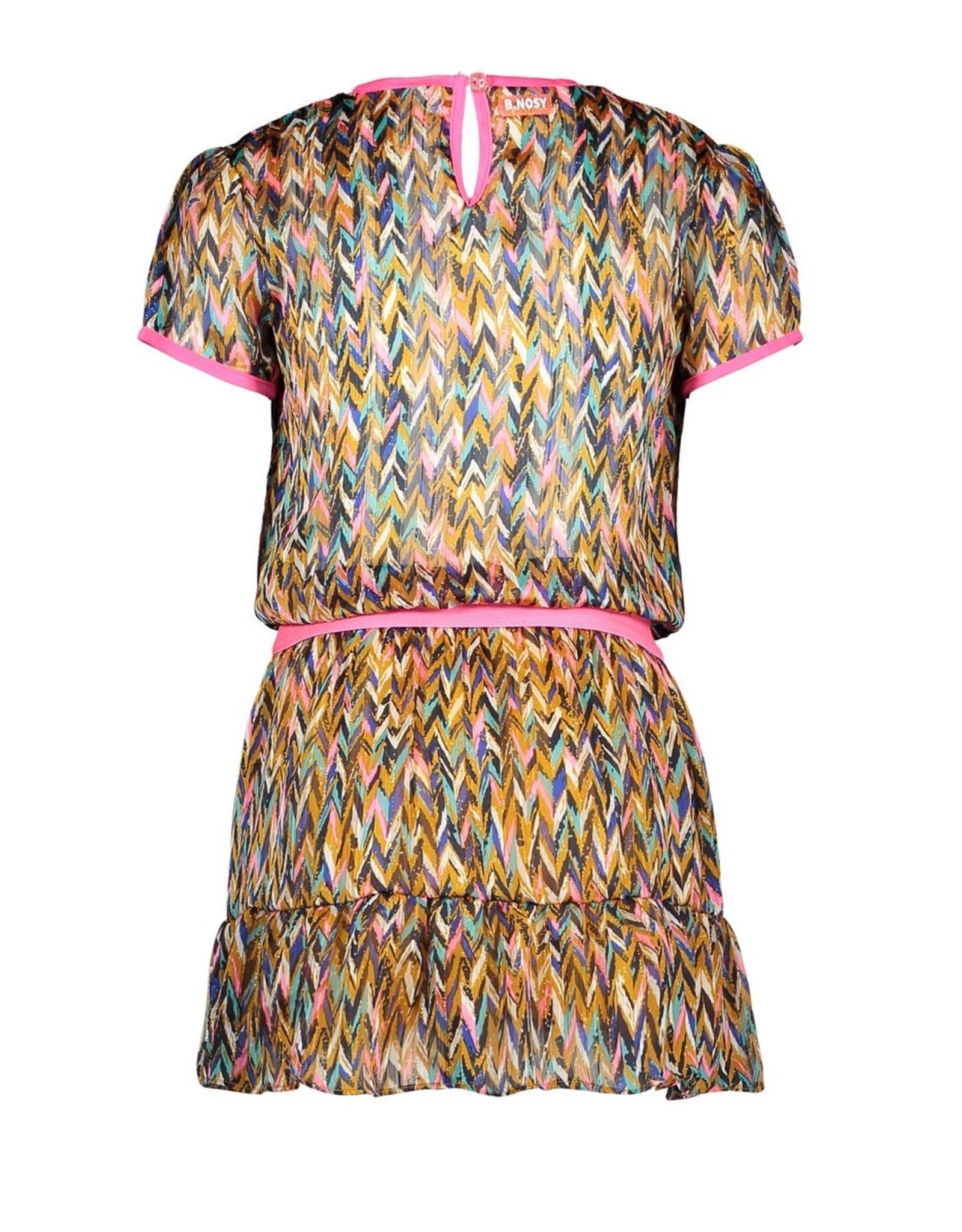 B-Nosy Girls curious aop woven dress with v-shaped ruffle, Curious ao