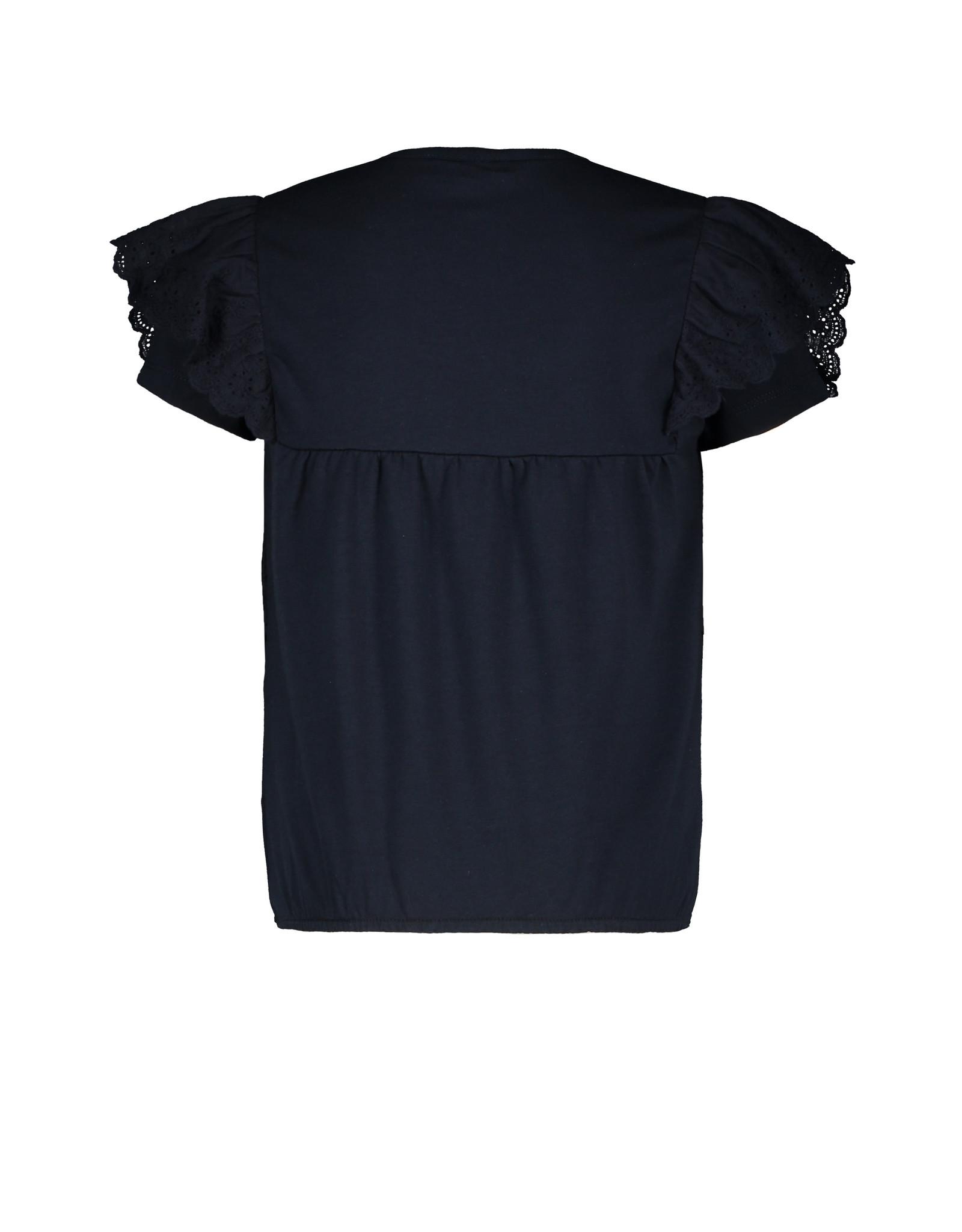 Like Flo Flo girls jersey broidery anglais ruffle top, Navy