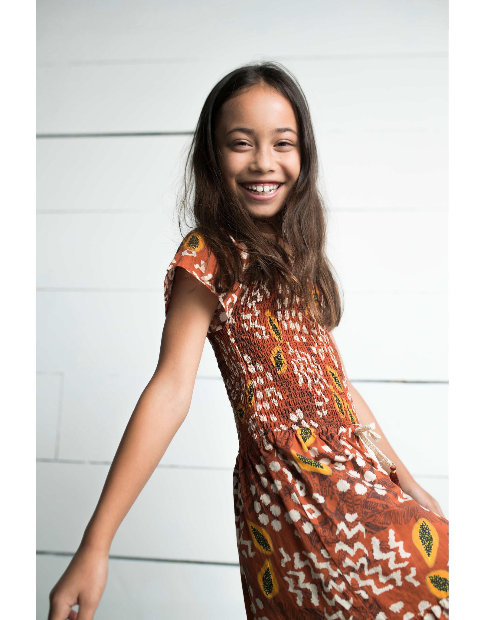 Like Flo Flo girls AO woven smock maxi dress, Cognac papaya