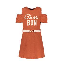 Like Flo Flo girls fancy jersey open shoulder dress, Cognac