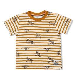 Sturdy T-shirt streep - Happy Camper. Okergeel