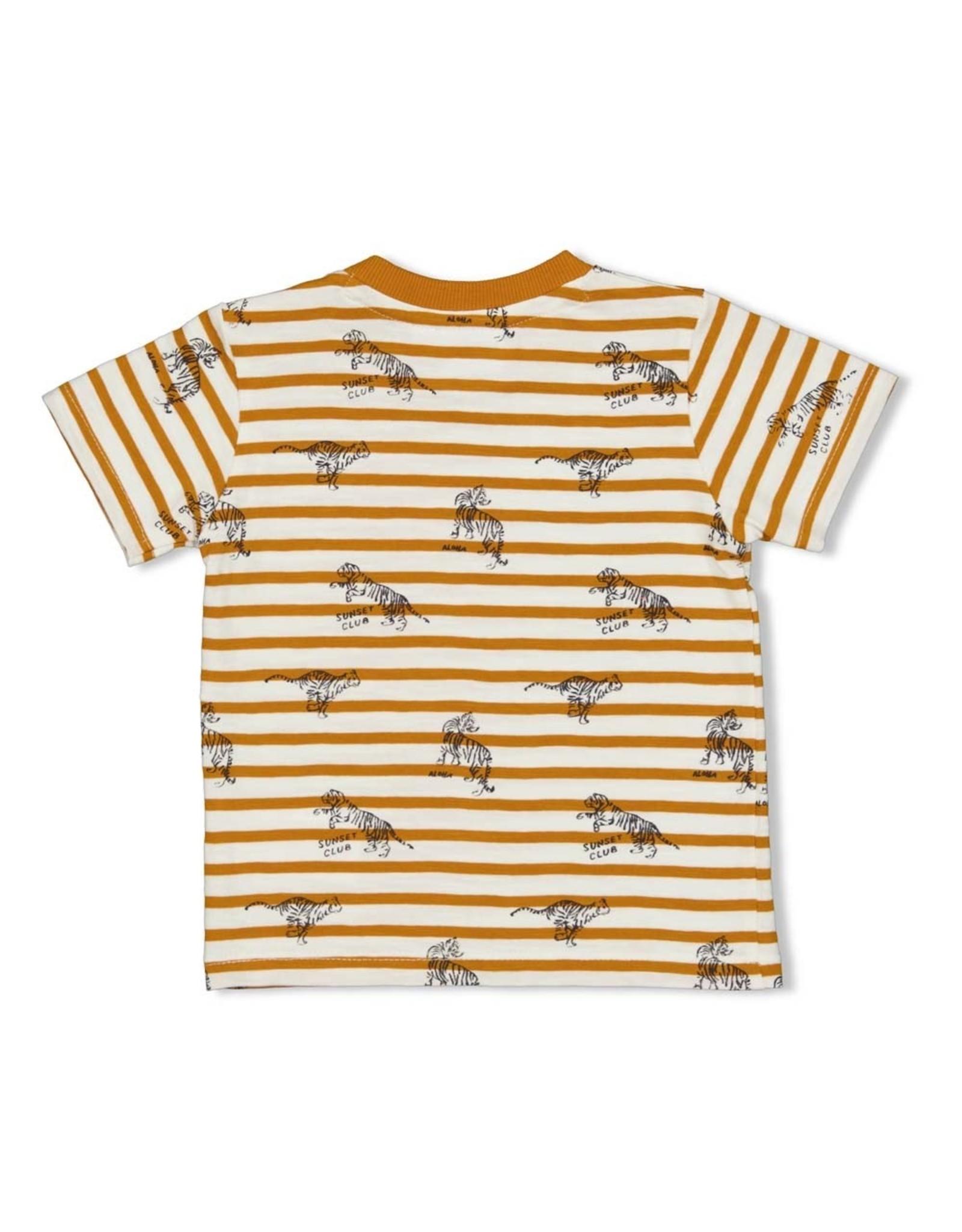 Feetje T-shirt streep - Happy Camper. Okergeel