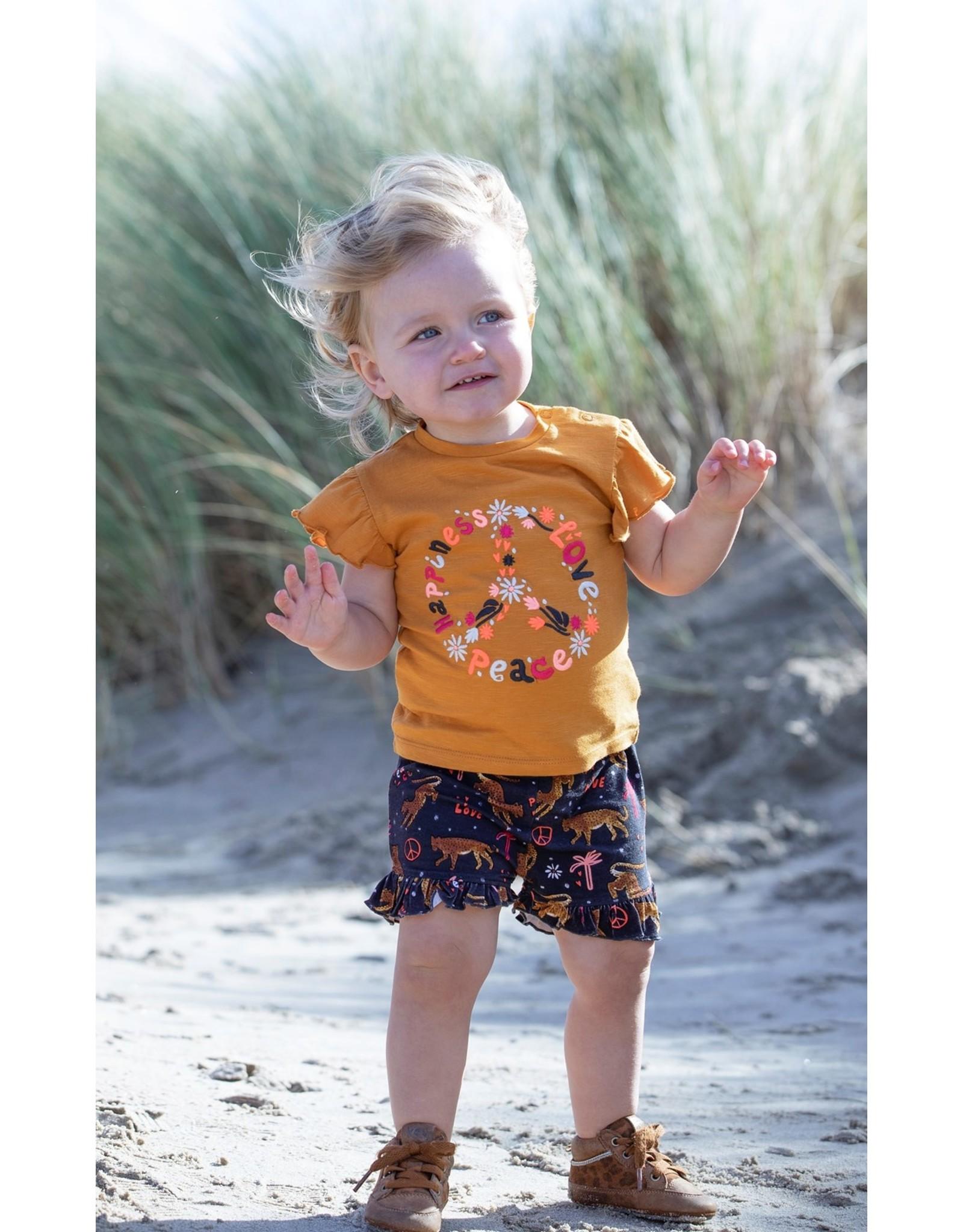 Feetje T-shirt Peace - Whoopsie Daisy. Okergeel