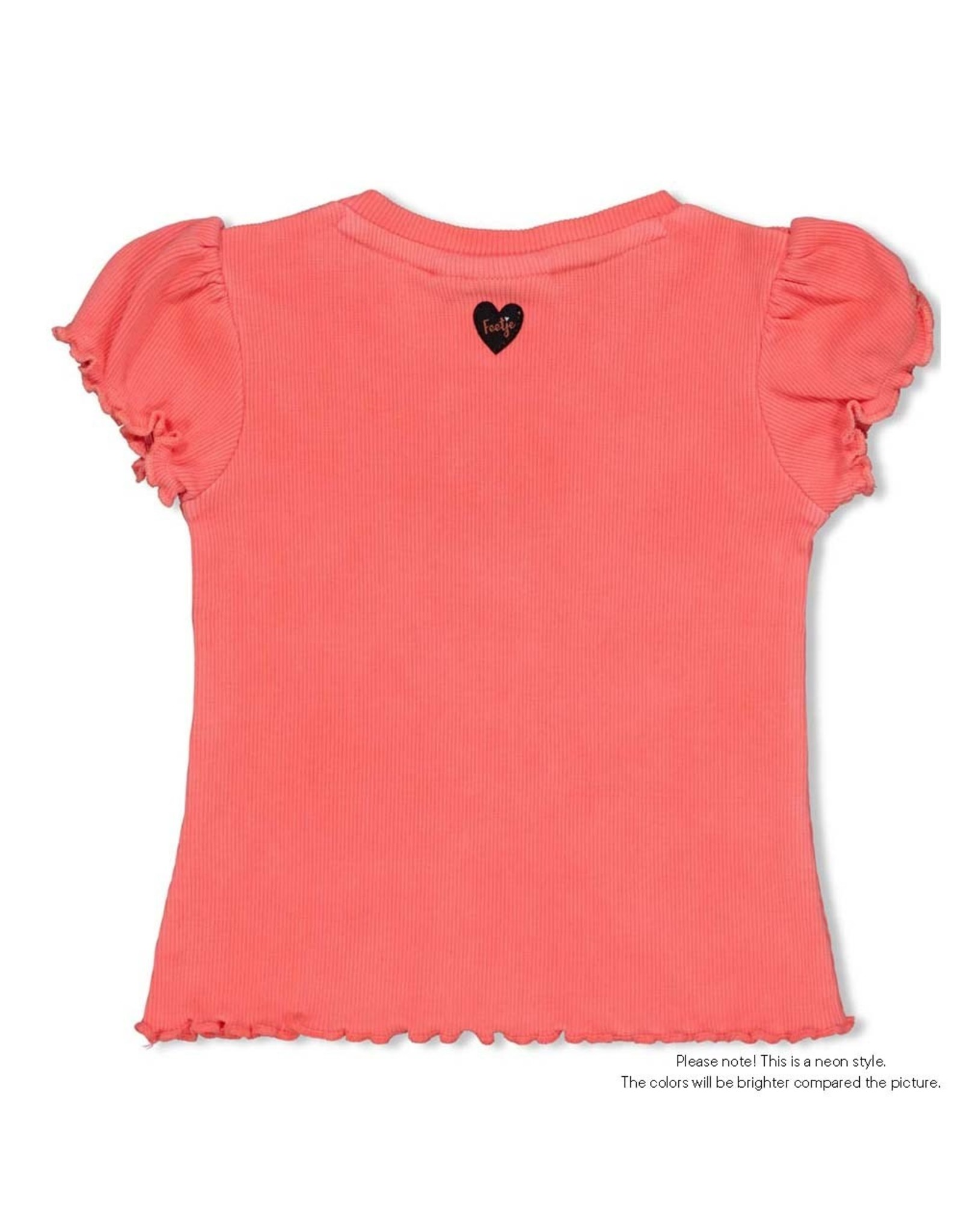 Feetje T-shirt My Favorite - Leopard Love. Neon Koraal