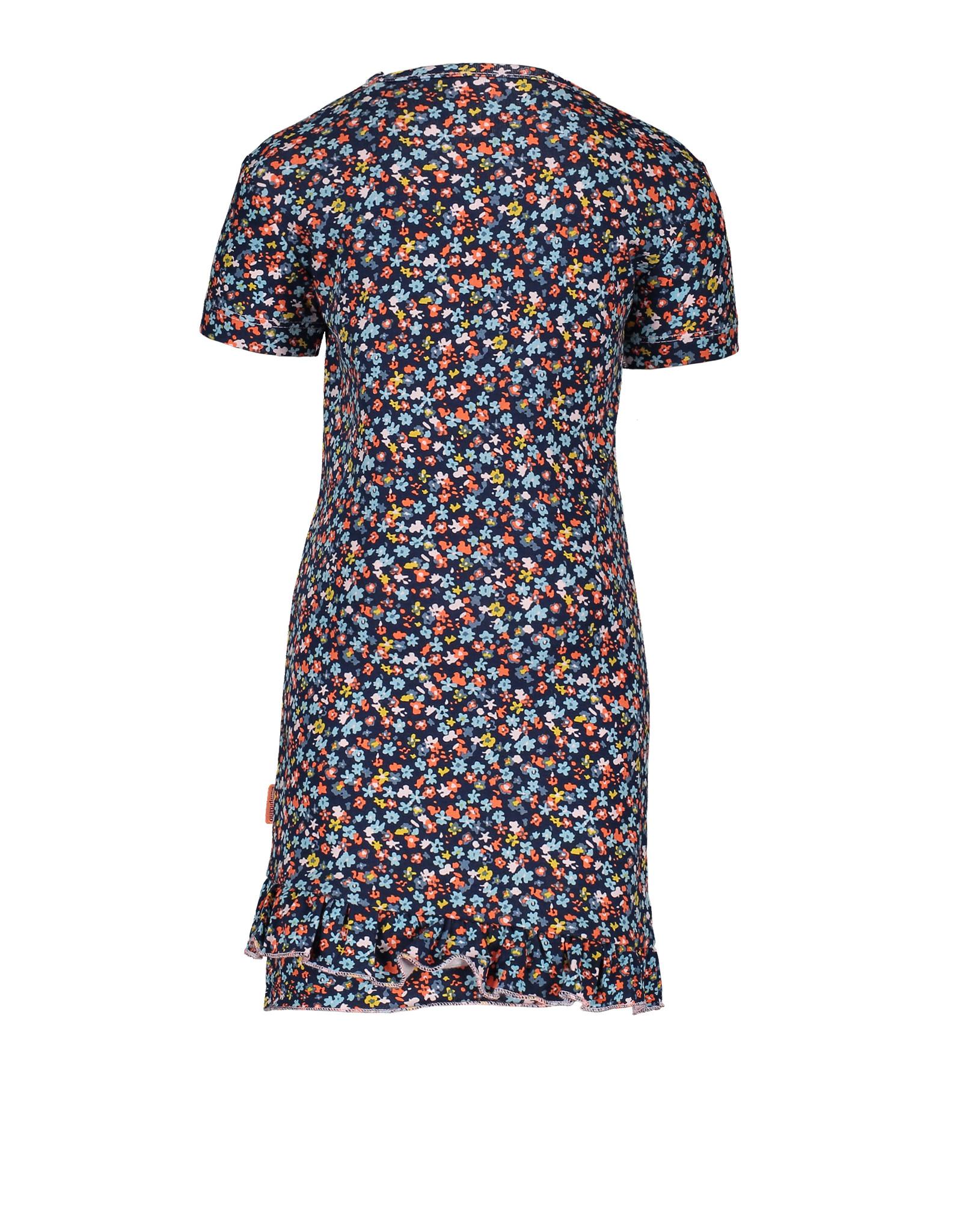 Bampidano Little Bampidano Girls short sleeve dress Dalia AO with hem ruffles FLOWER