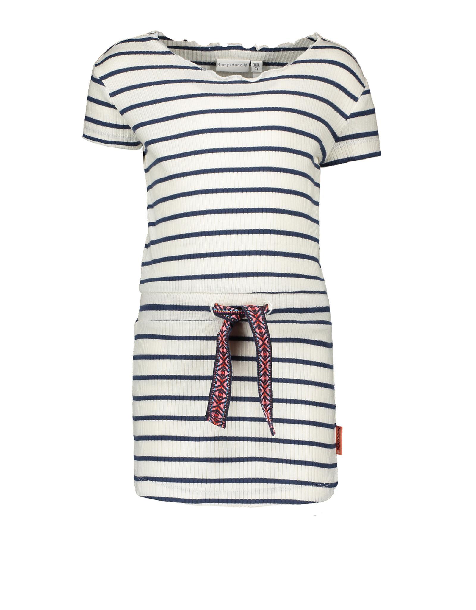 Bampidano Bampidano Junior Girls rib short sleeve dress Disa yd stripe NATURE