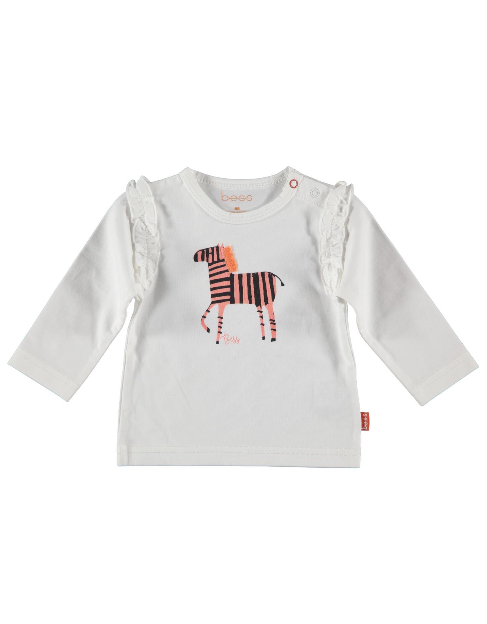 B.E.S.S. Shirt l. sl. Zebra Ruffles, White